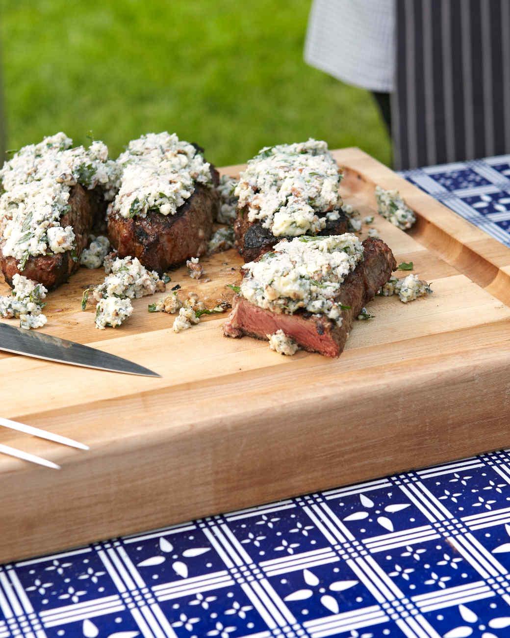 Strip Steaks with Blue Cheese Glaze