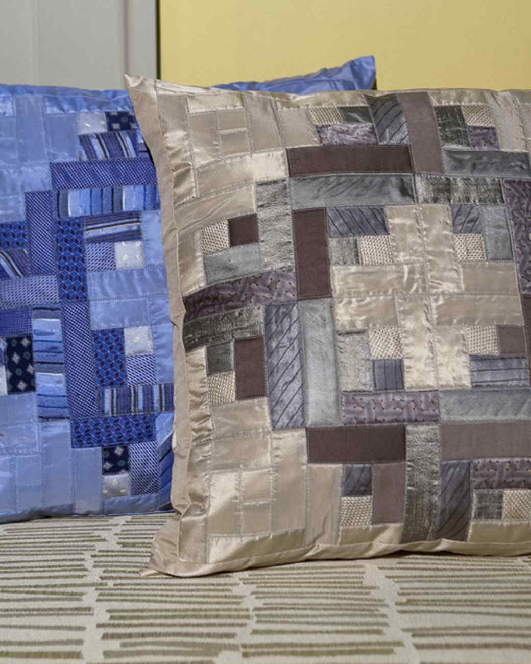 Quilted Silk-Tie Pillow