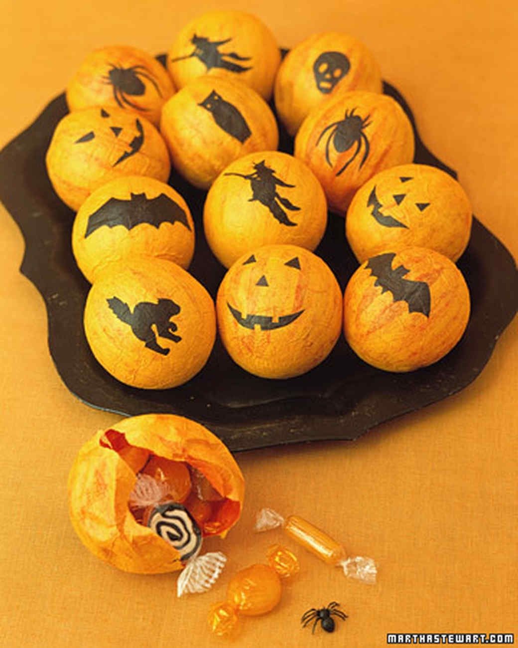 Halloween birthday party decorations - Treat Balls Treat Balls Adorned With Silhouettes Are Spooky Halloween Party Favors
