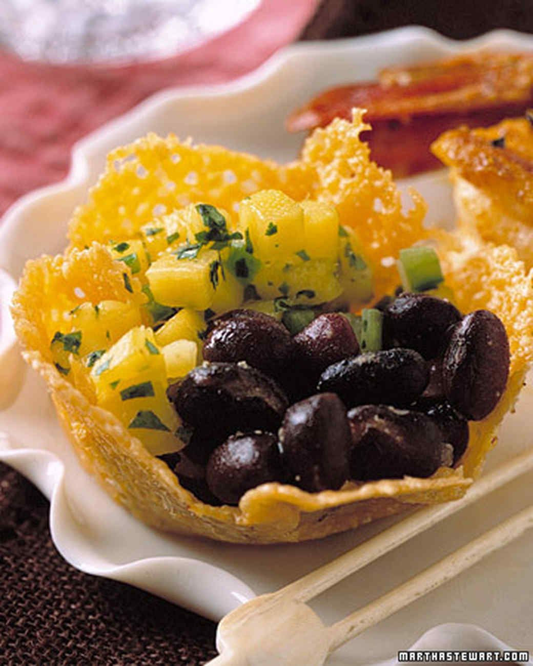 Beastly Beans with Mango Salsa in Cheddar Cups