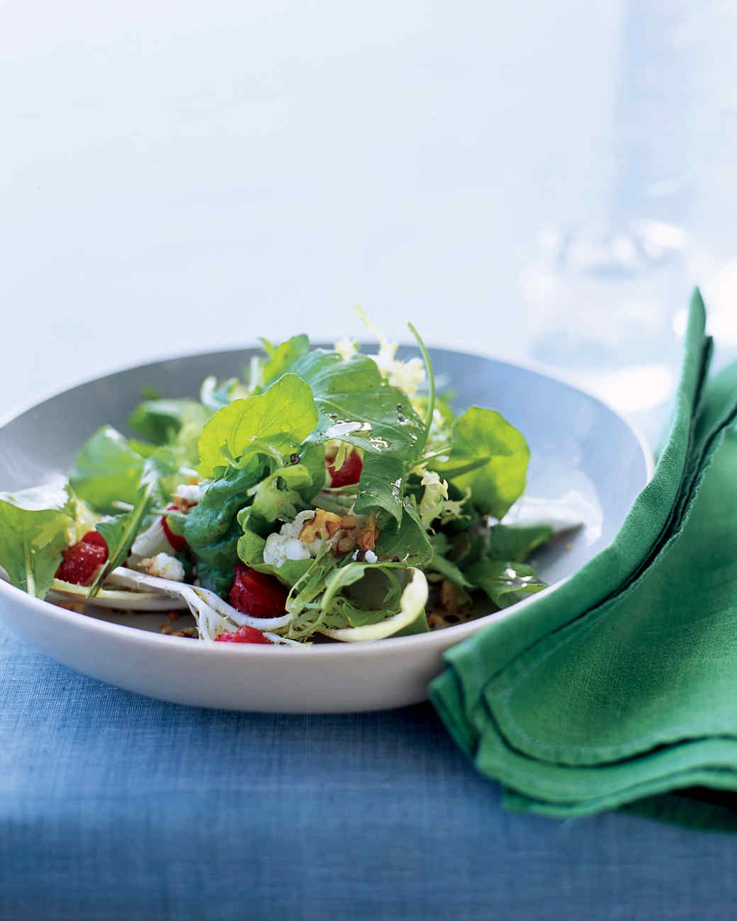 Arugula, Frisee, and Red Leaf Salad with Strawberries