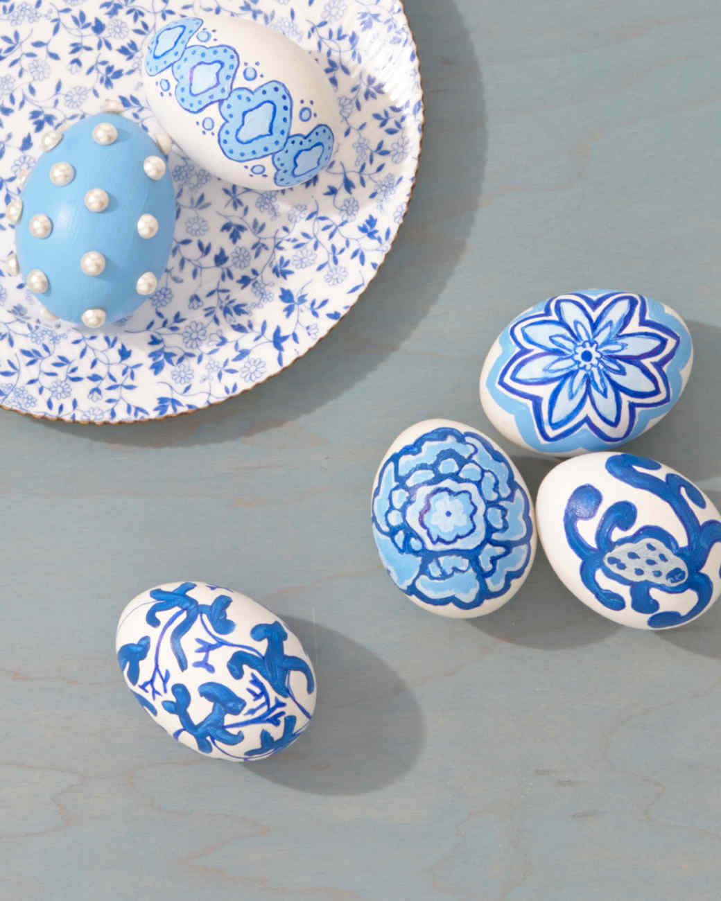 blue easter eggs decorated like china