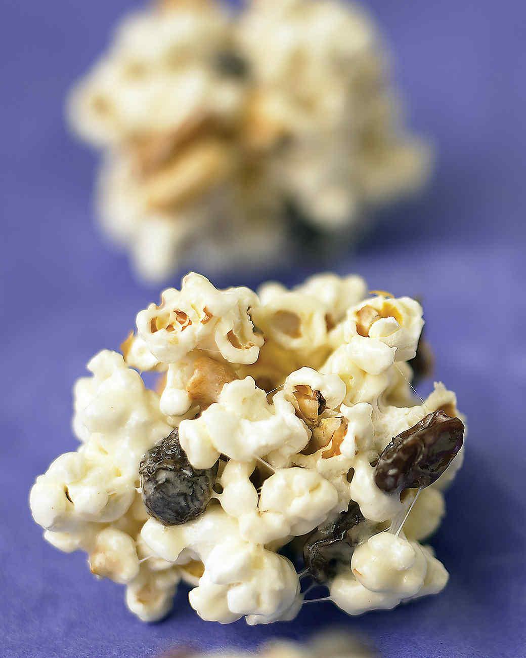 Popcorn Balls with Peanuts and Raisins