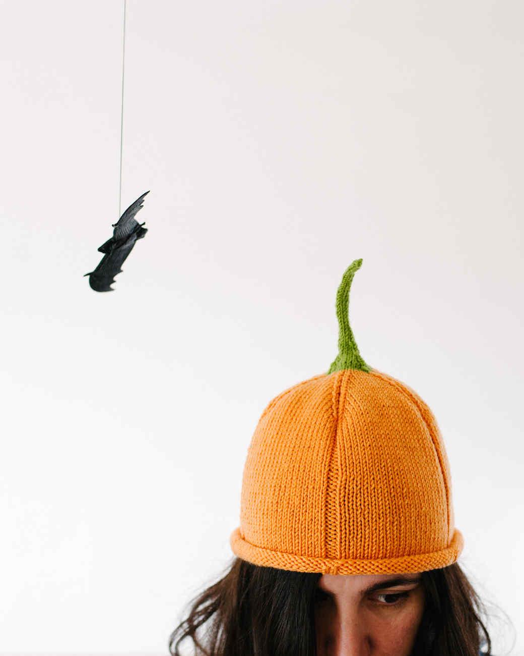 Knit pumpkin beanie