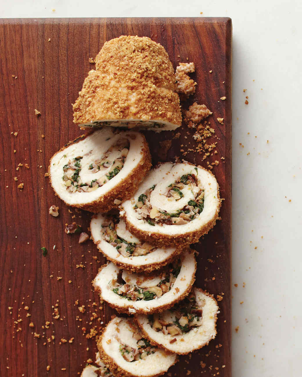 Walnut-Stuffed Chicken Roulades
