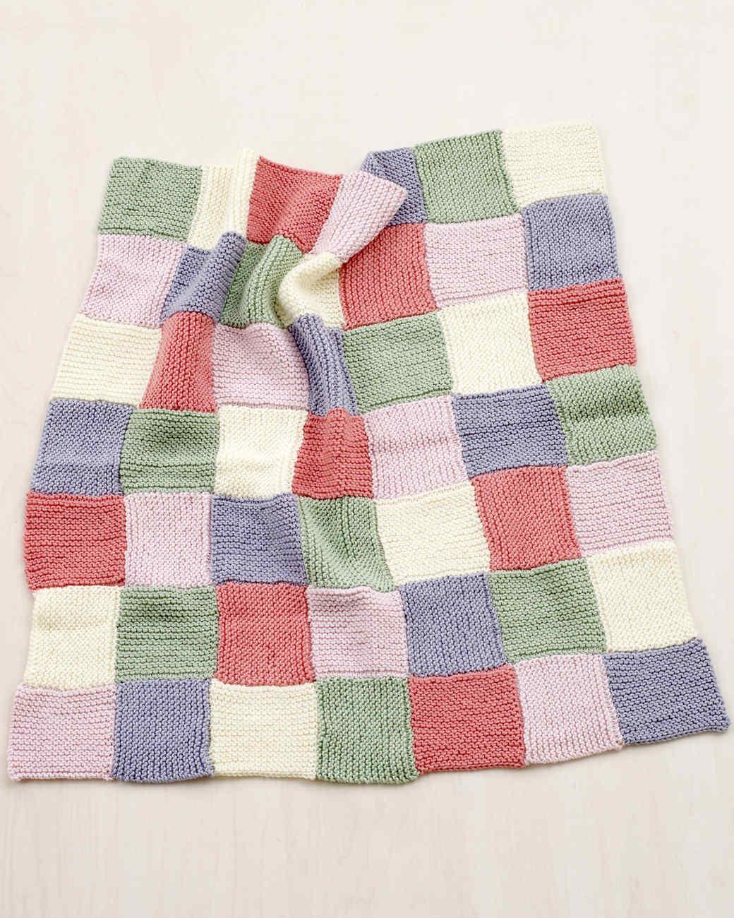 Martha Stewart Crafts Lion Brand® Yarn Extra Soft Wool Blend Loom-Knit Patchwork Garter Baby Throw