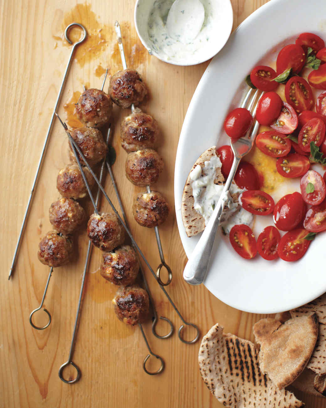 Skewered Greek Meatballs