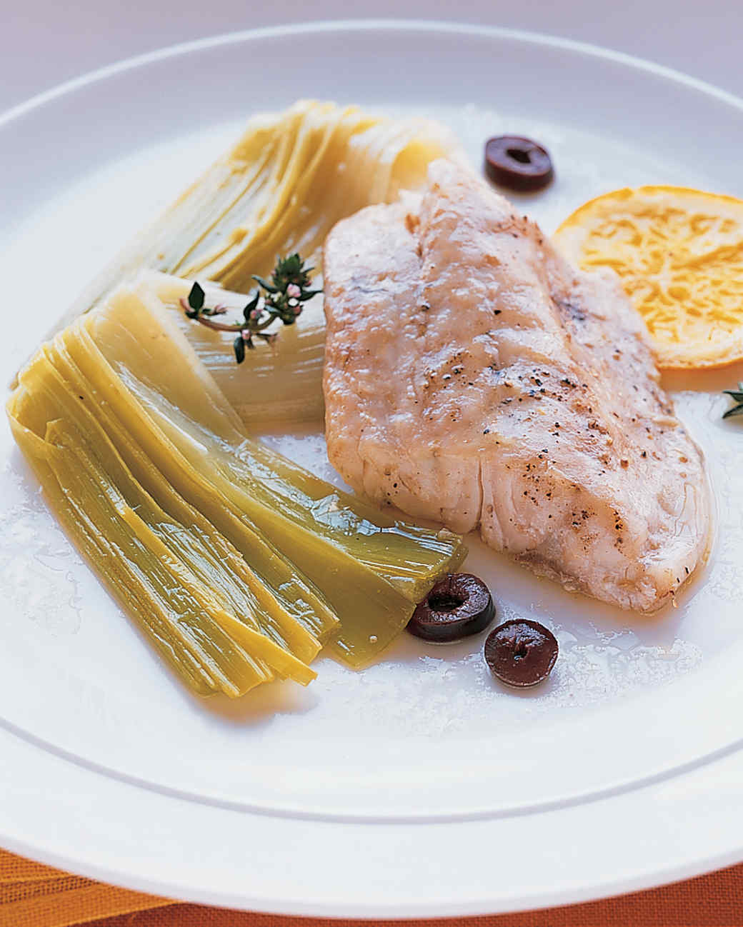 Striped Bass with Braised Leeks, Orange, and Thyme