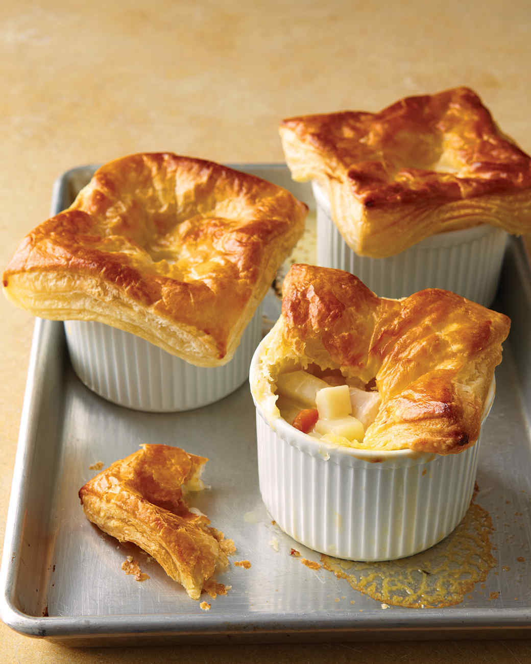Chicken Potpies With Puff Pastry Recipe — Dishmaps
