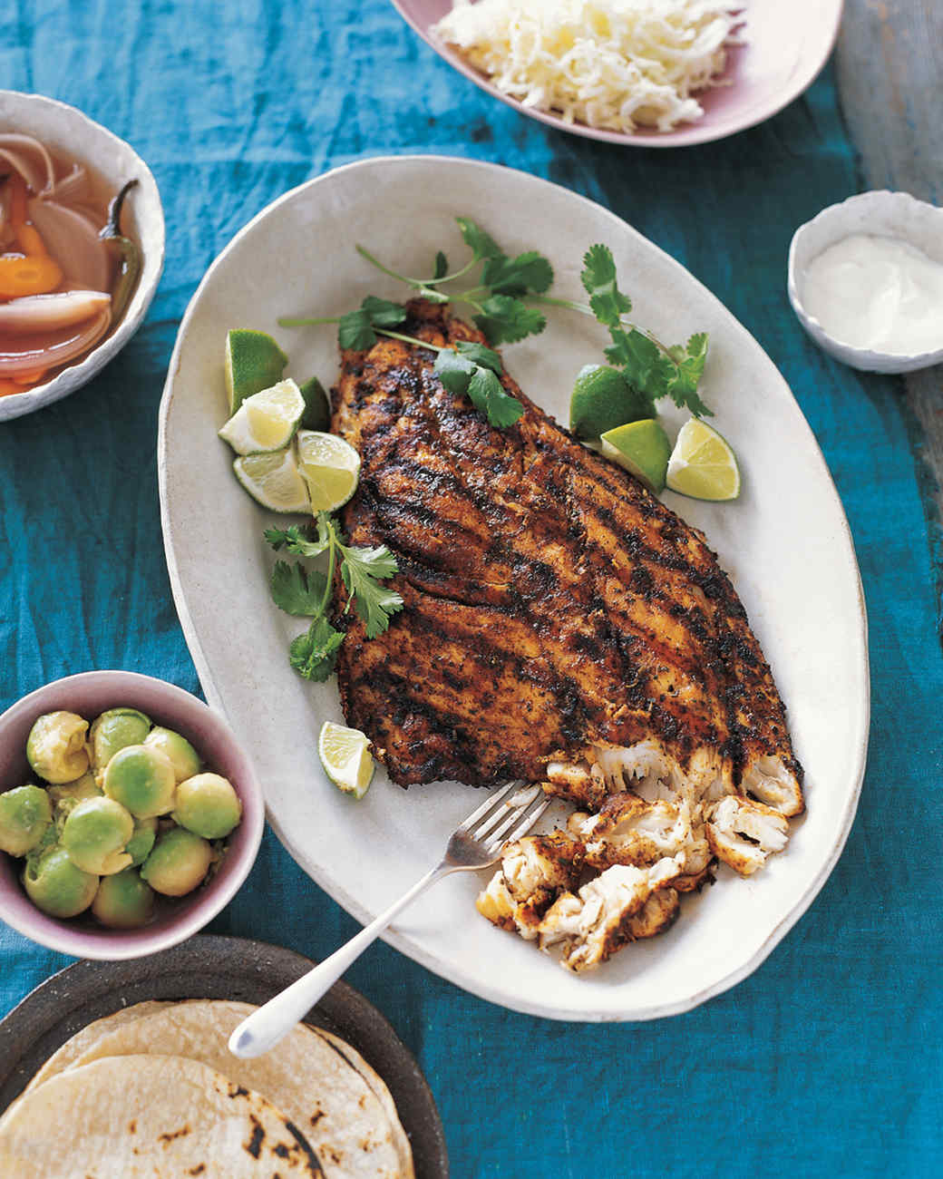Grilled fish for tacos recipe martha stewart for The fish grill