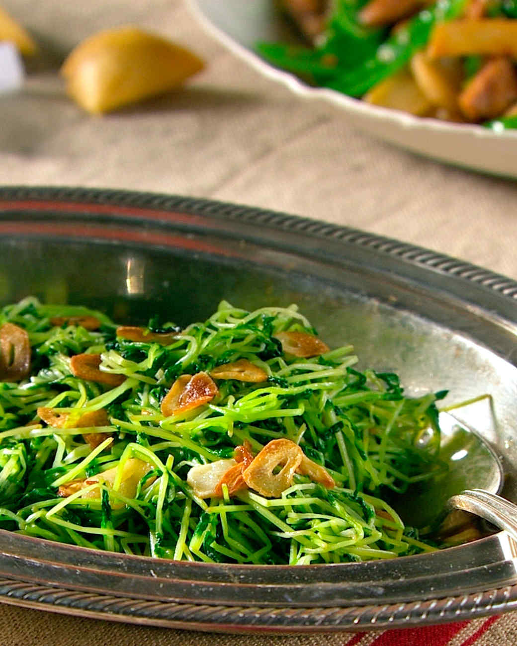 Pea Shoots with Garlic