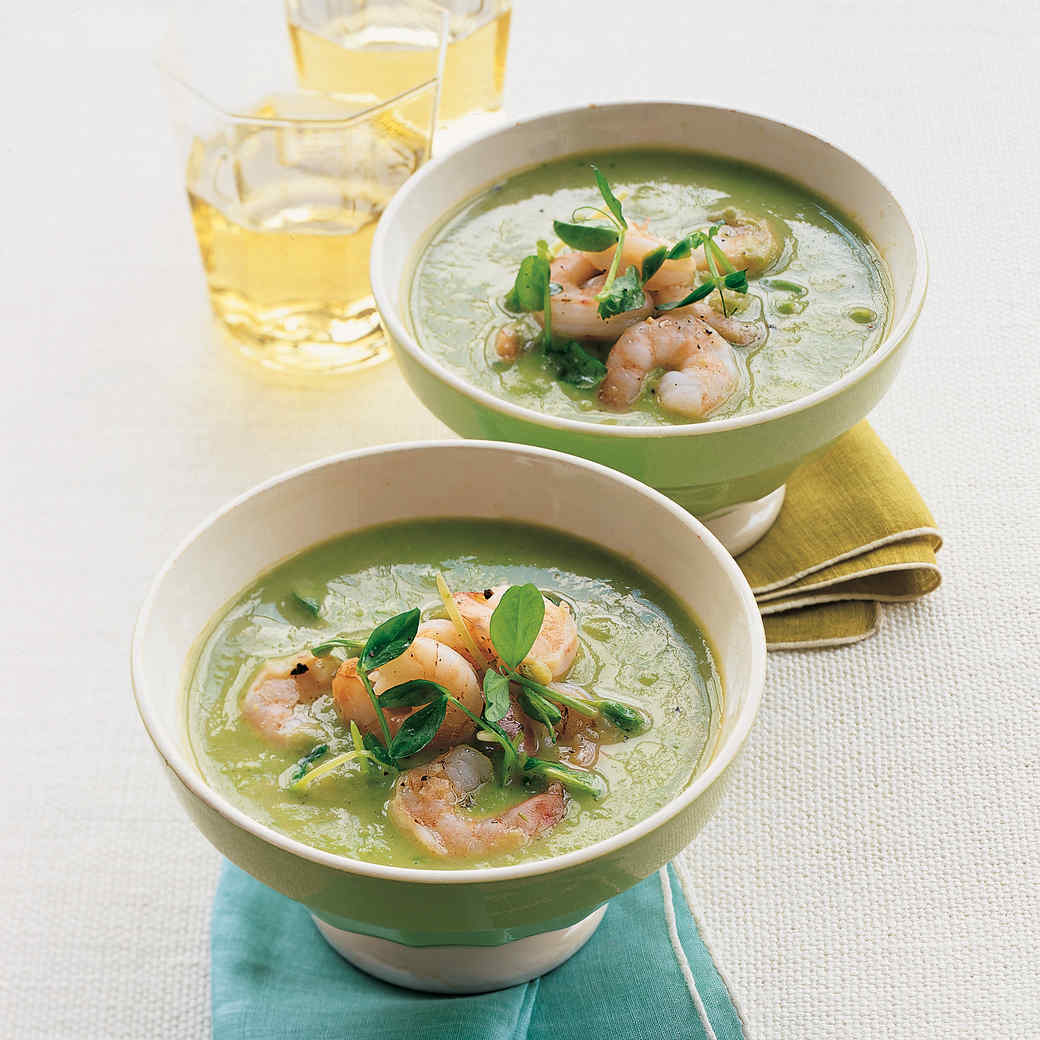 Chilled Pea and Pea-Shoot Soup with Shrimp