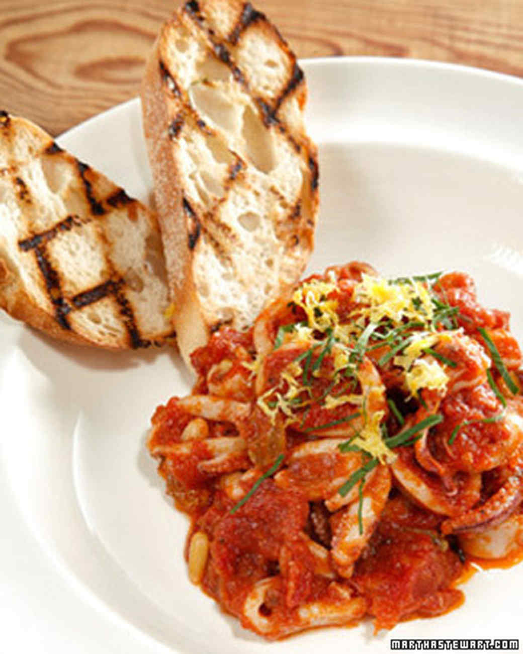 Sauteed Calamari with Tomatoes, Basil, Raisins, and Pine Nuts