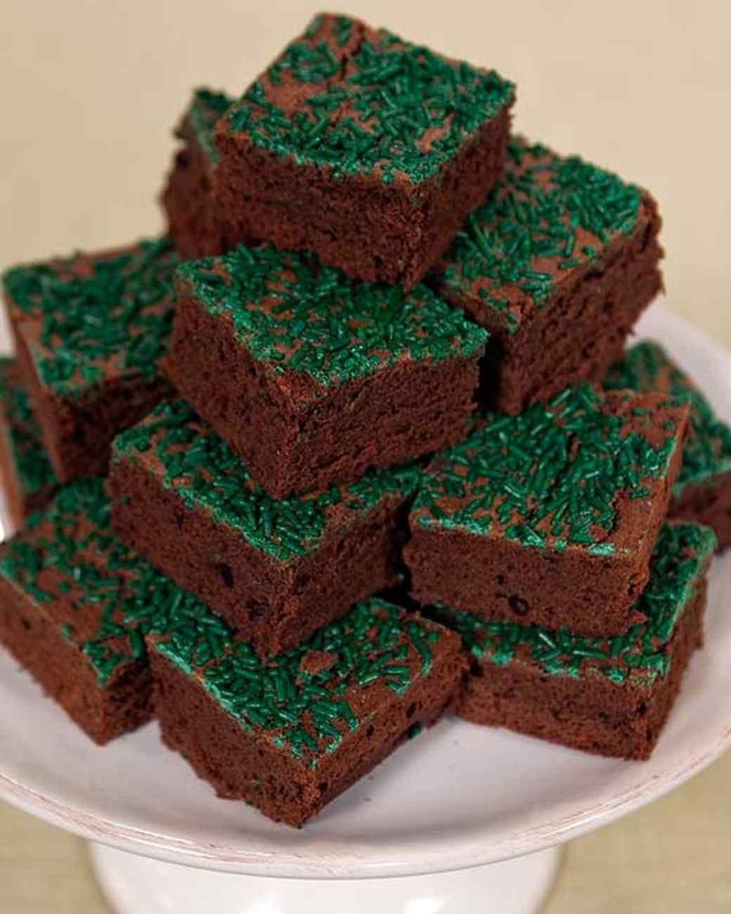 Fudgy Chocolate Brownies with Green Sprinkles