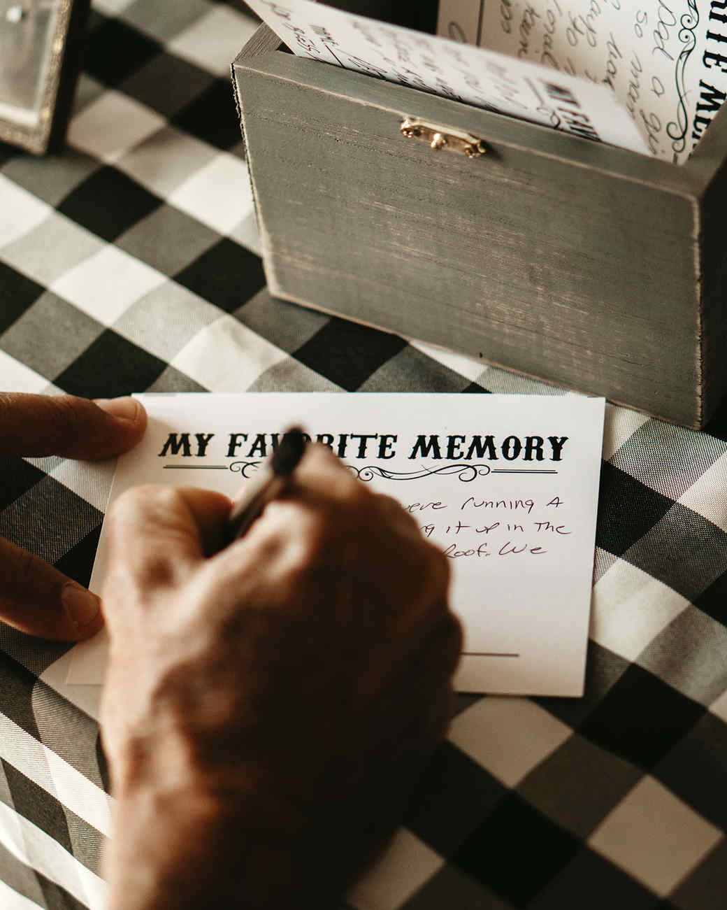 grandfather's 90th birthday man writing favorite memory