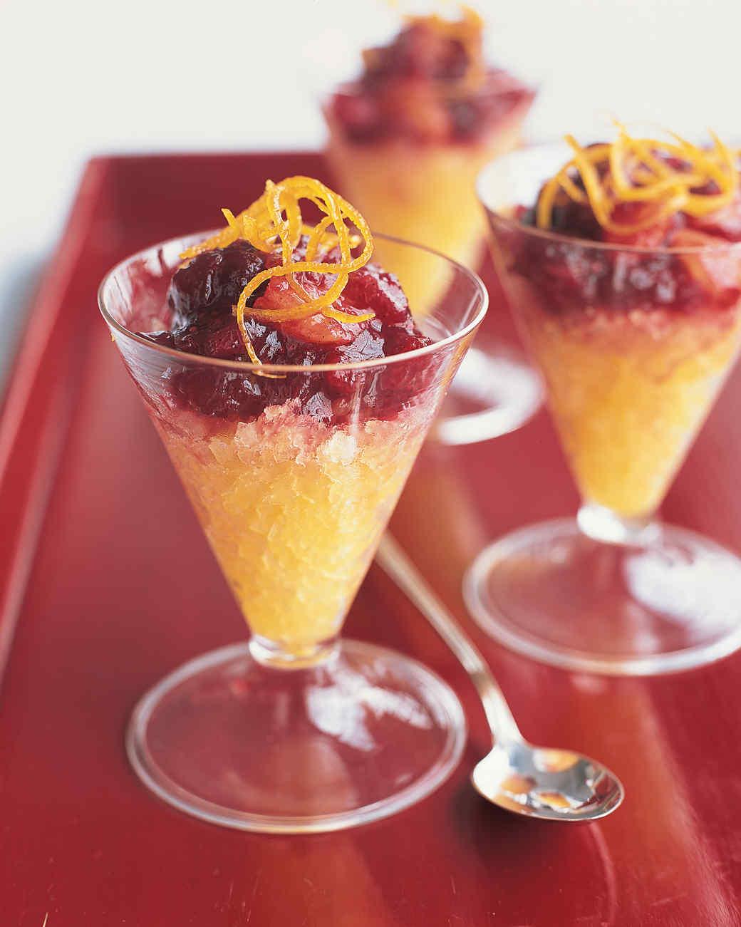 Cranberry-Vanilla Compote with Orange Ice