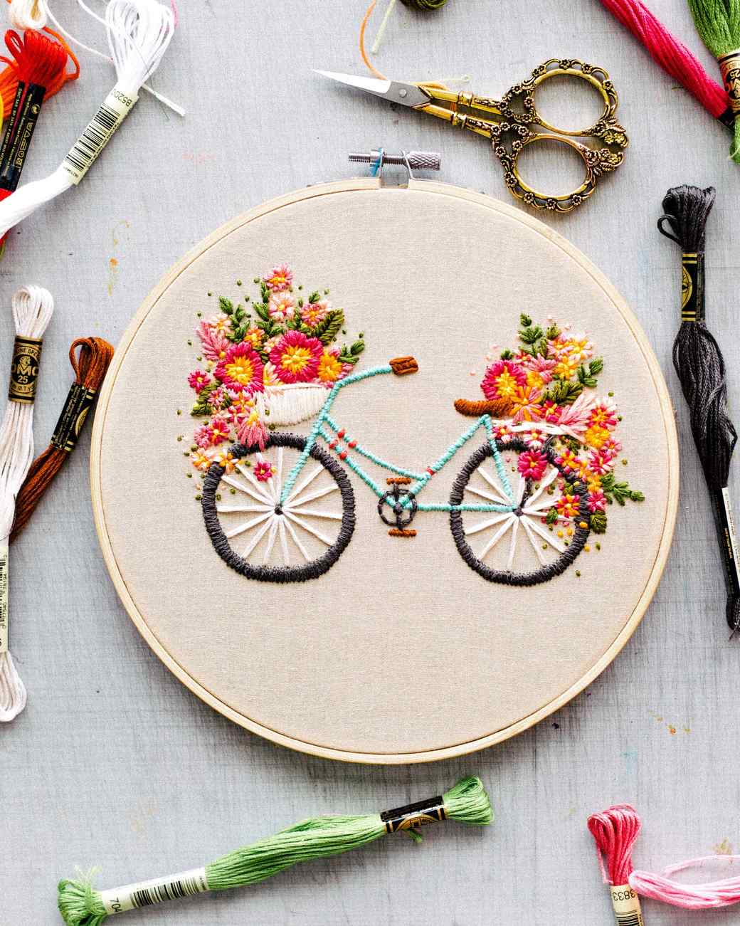Embroidered bicycle with basket of flowers martha stewart for Pictures of designs