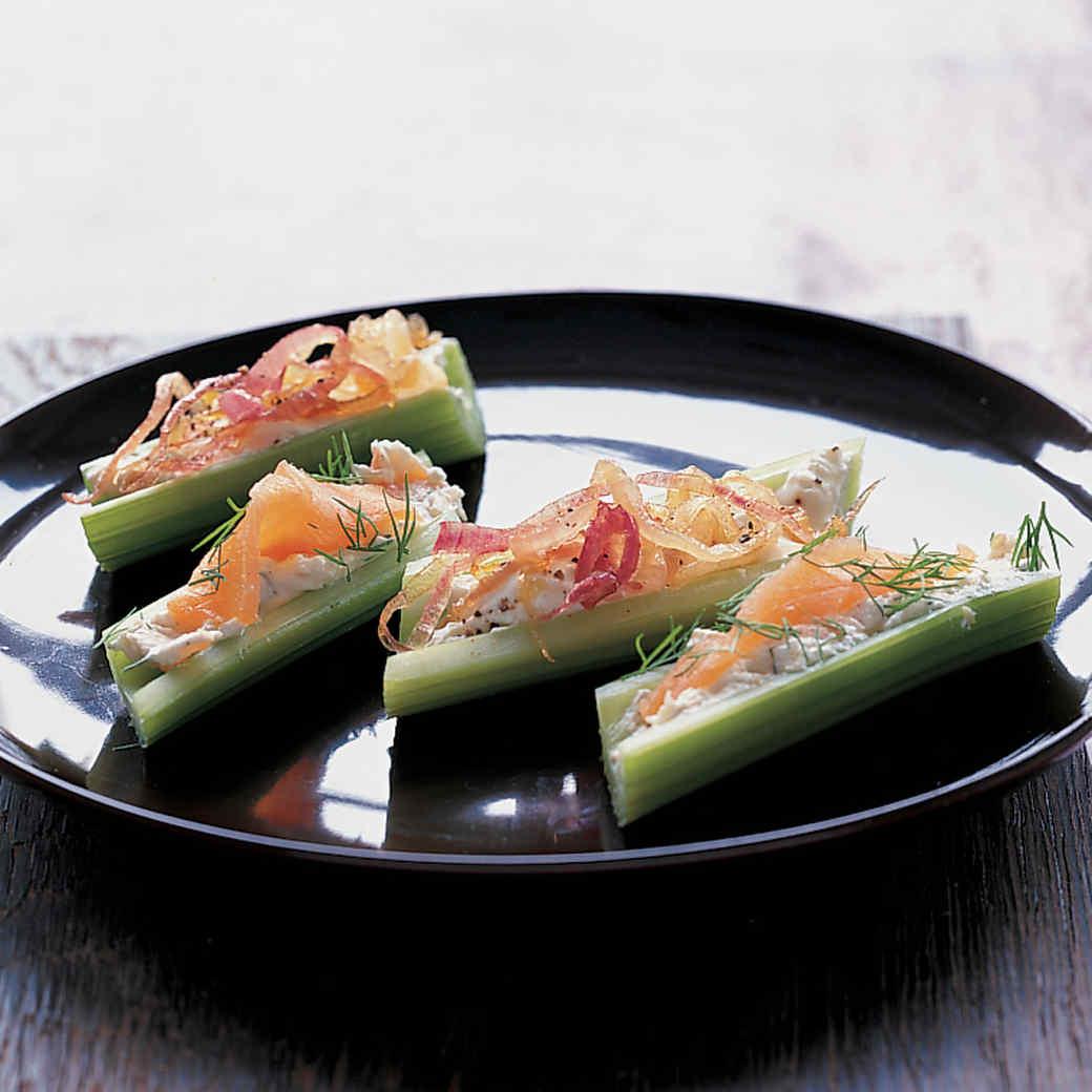Smoked Salmon and Caramelized Onion Stuffed Celery Stalks