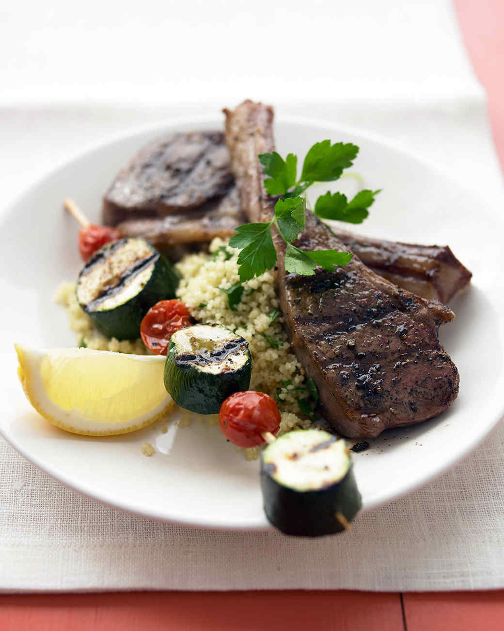 Grilled Lamb Chops and Vegetable Kebabs