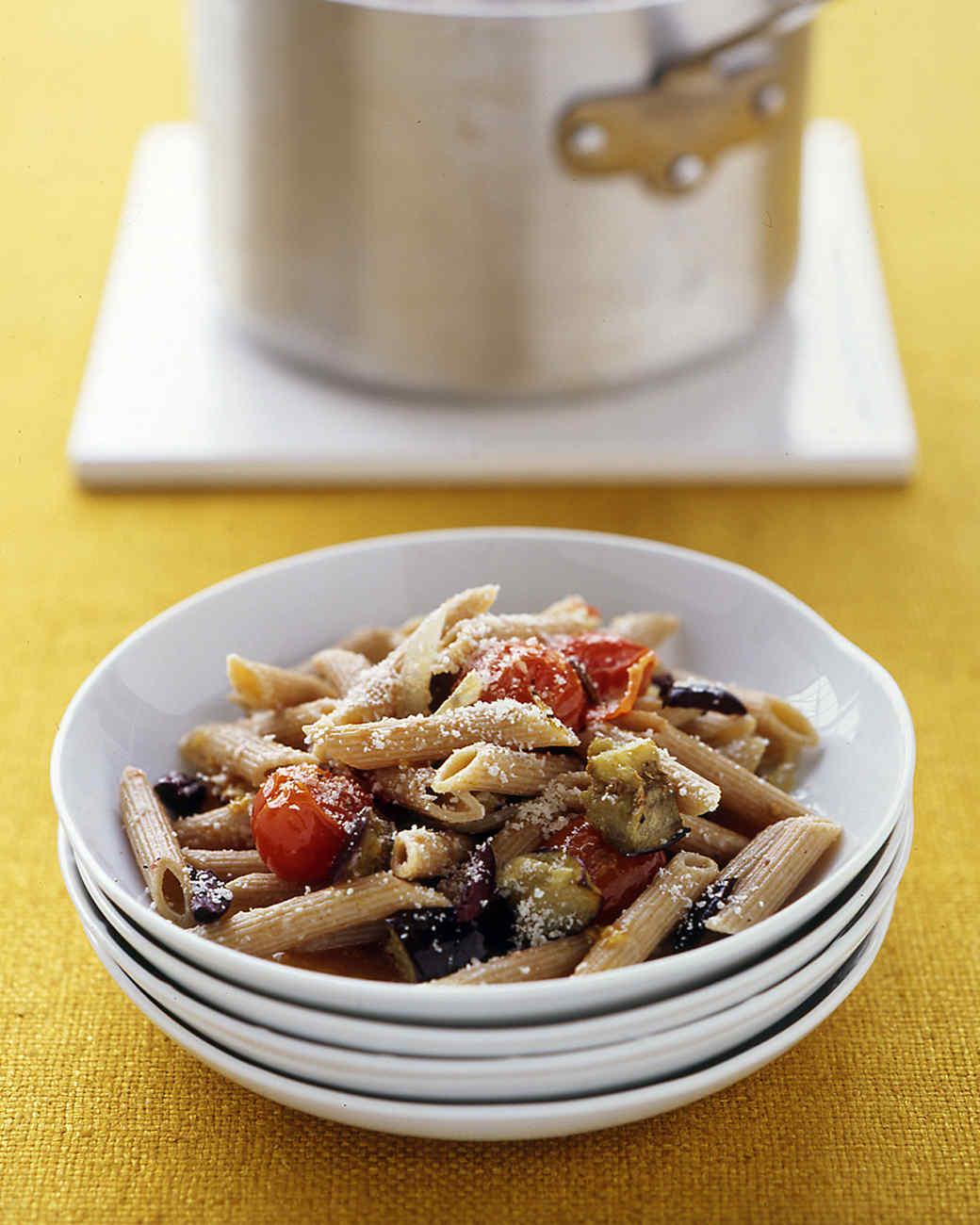 Easy Whole Wheat Pasta with Roasted Eggplant and Tomatoes