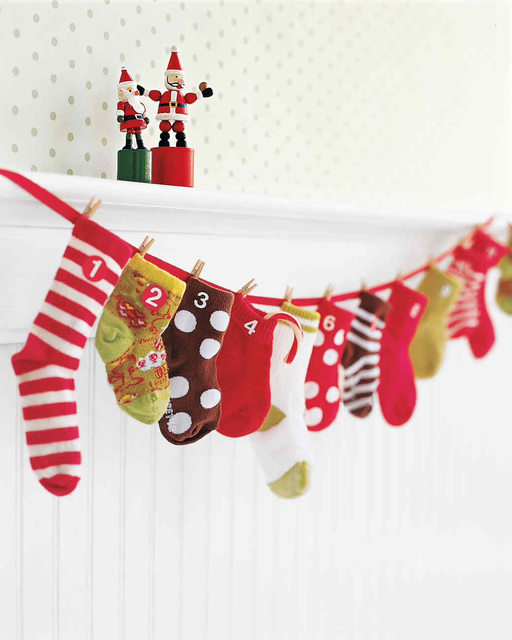 Amazing Martha Stewart Christmas Craft Ideas Part - 4: Baby Sock Advent Calendar