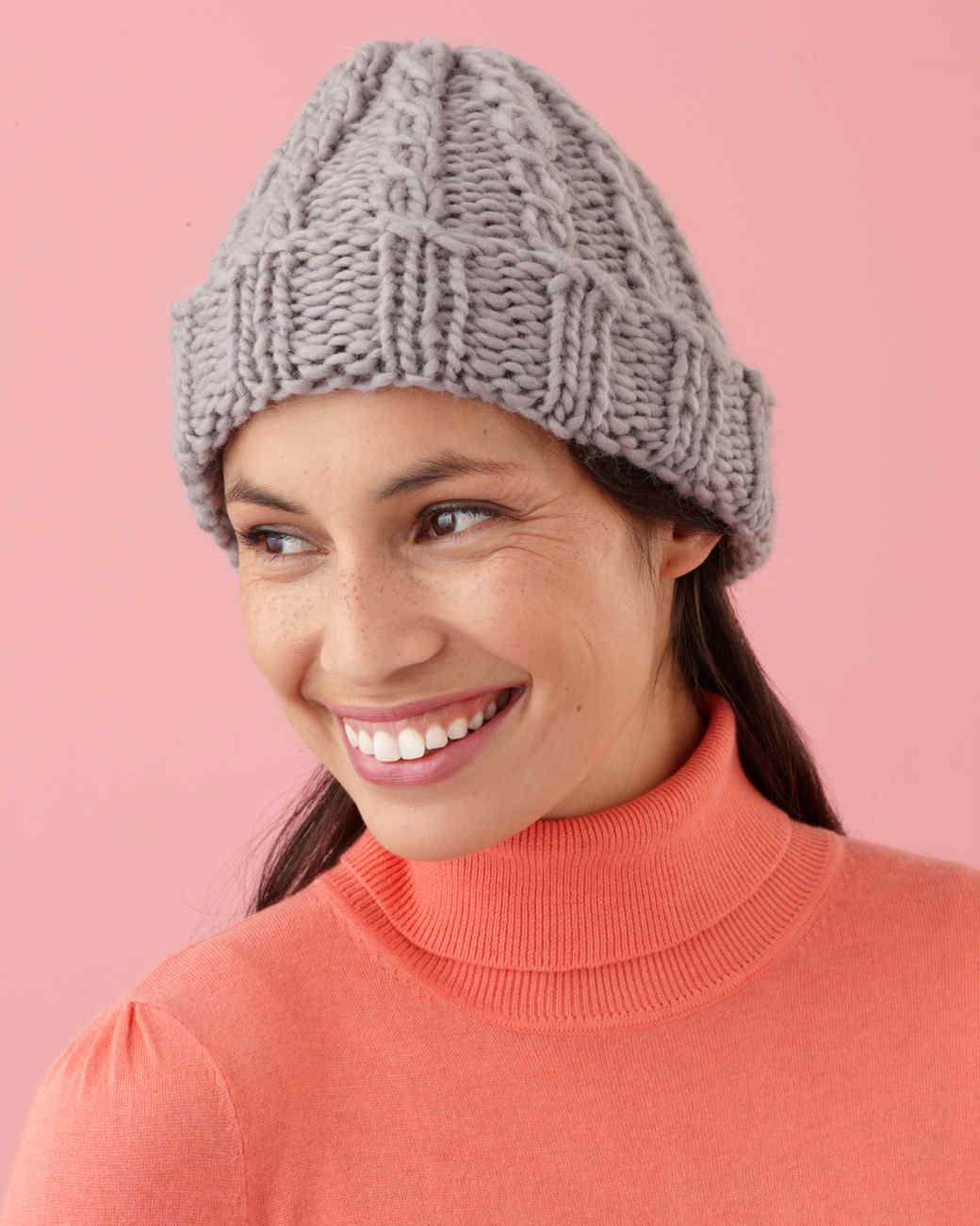 e5647e67d9e Martha Stewart Crafts Lion Brand® Yarn Roving Wool Loom-Knit Cable Hat and  Wristers