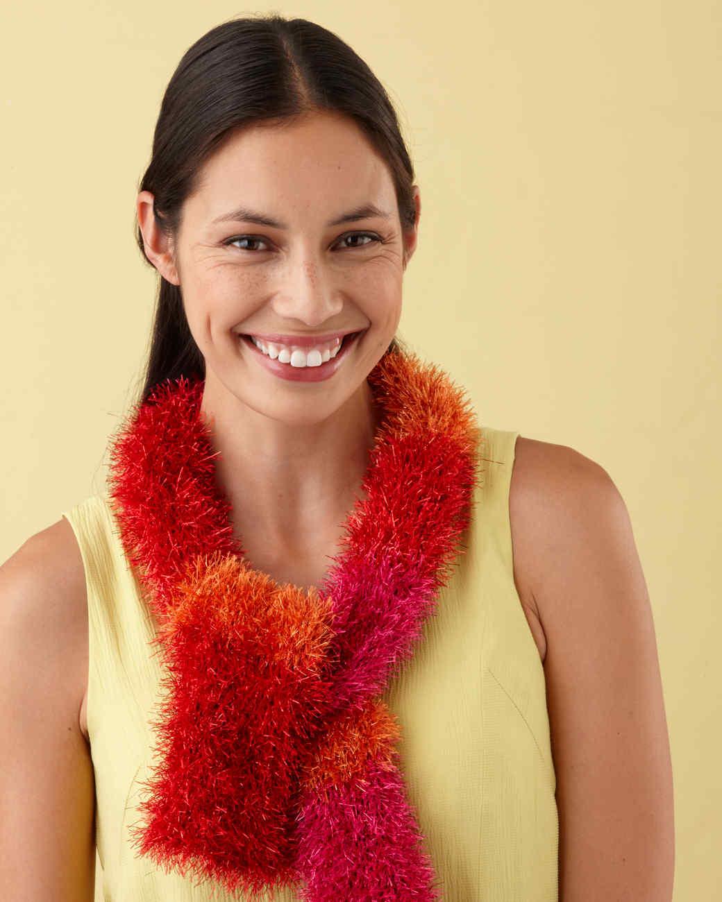 Martha Stewart Crafts Lion Brand® Yarn Glitter Eyelash Loom-Knit Multicolor Scarf