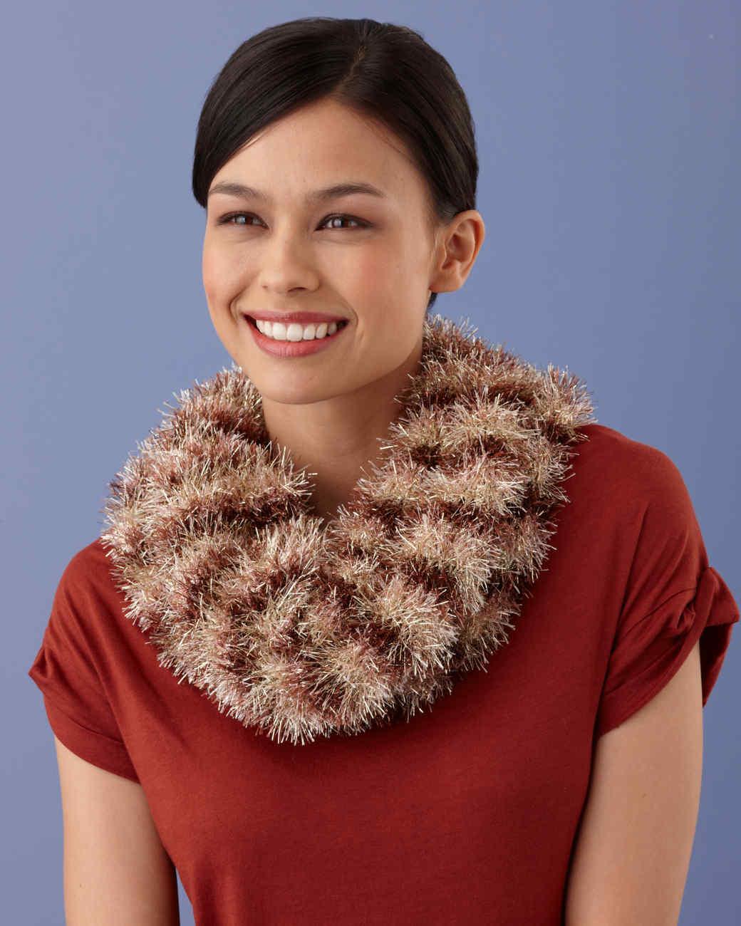 Martha Stewart Crafts Lion Brand® Yarn Glitter Eyelash Loom-Knit Striped Cowl