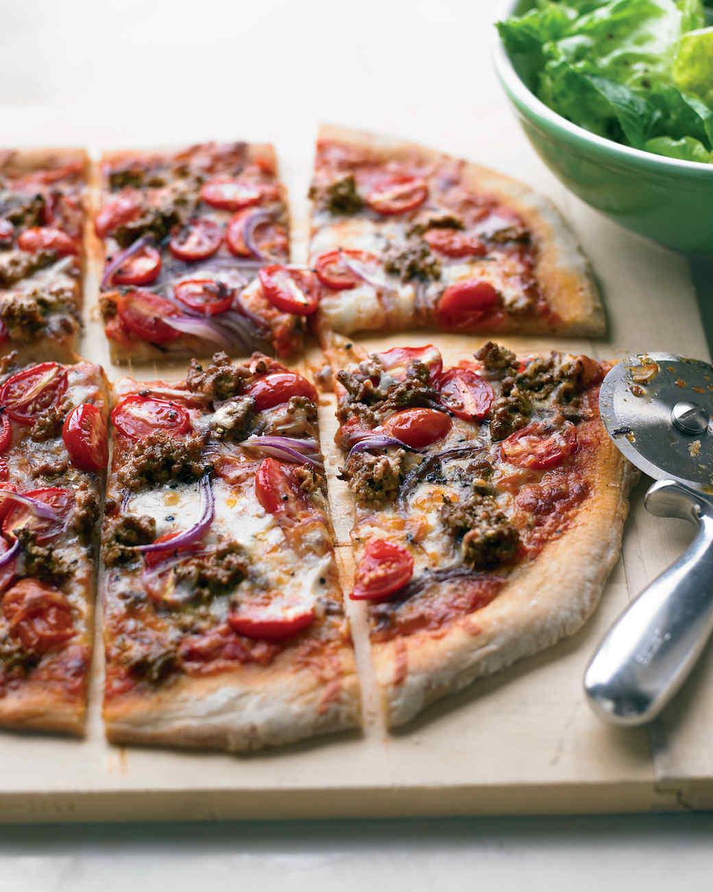 Hamburger and Grape-Tomato Pizza