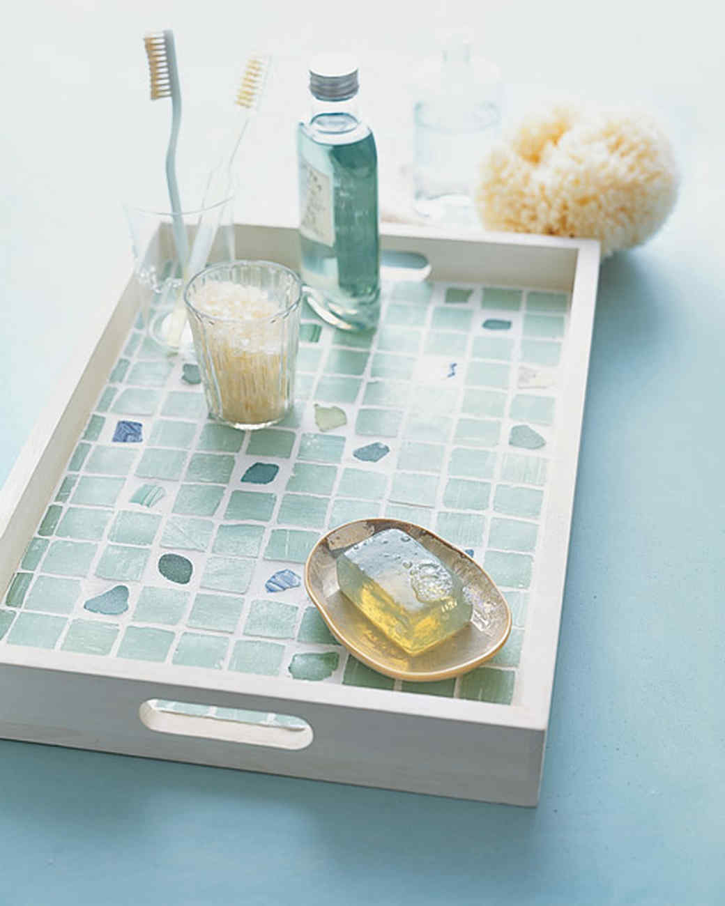 Sea-Glass-Tiled Tray or Tabletop