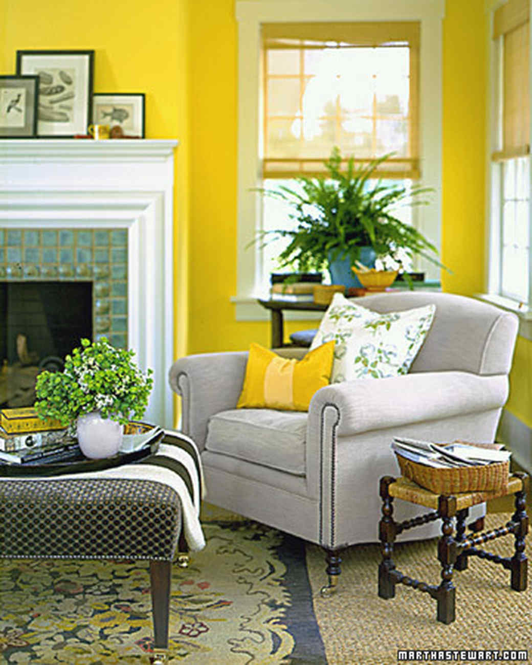 Bright Colors For Living Room Plans yellow rooms | martha stewart