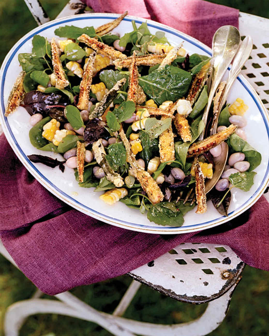 Corn, Cranberry Bean, and Fried-Okra Salad