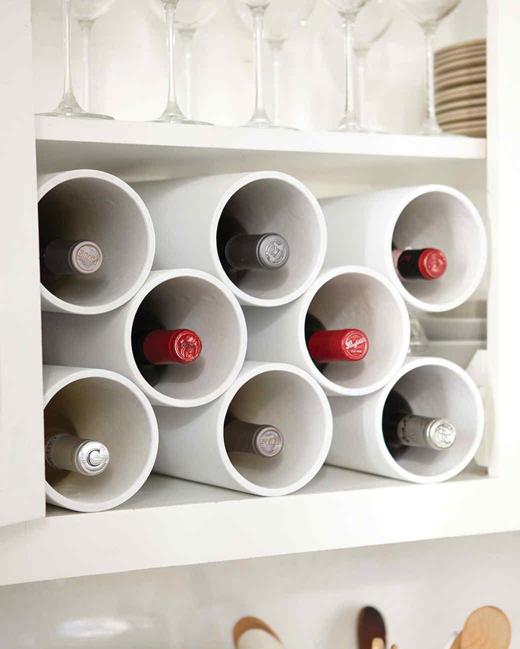 & Turn Hardware Pipes into a Modern Wine Rack   Martha Stewart