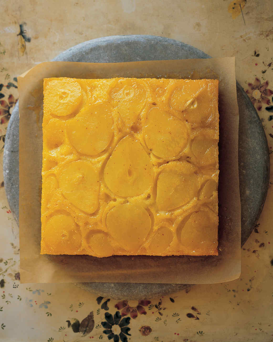 Saffron-Scented Pear Upside-Down Cake
