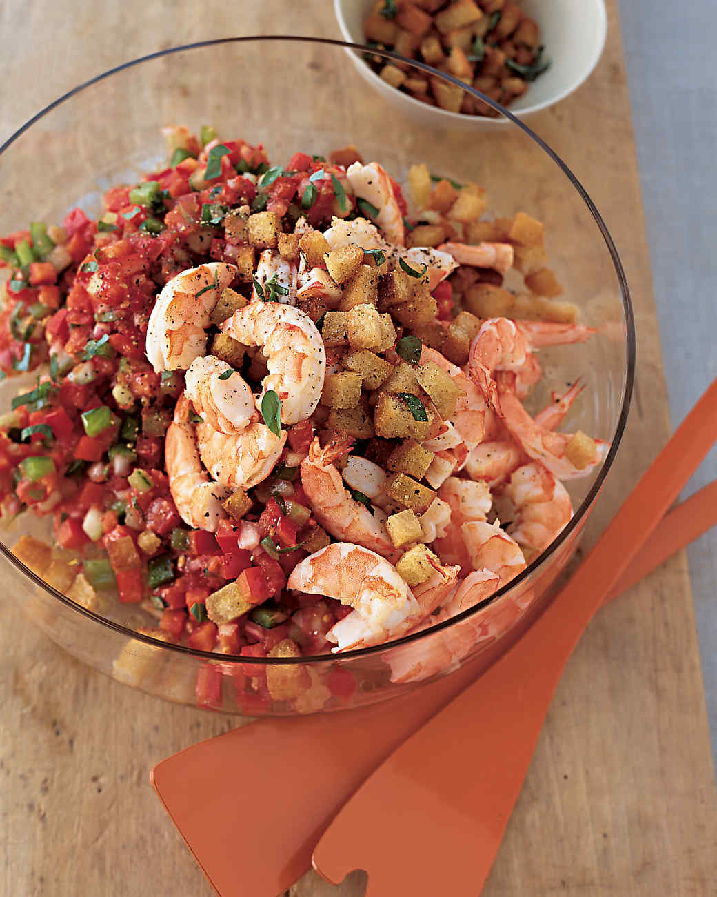 Chilled Shrimp and Chopped-Tomato Salad with Crisp Garlic Croutons