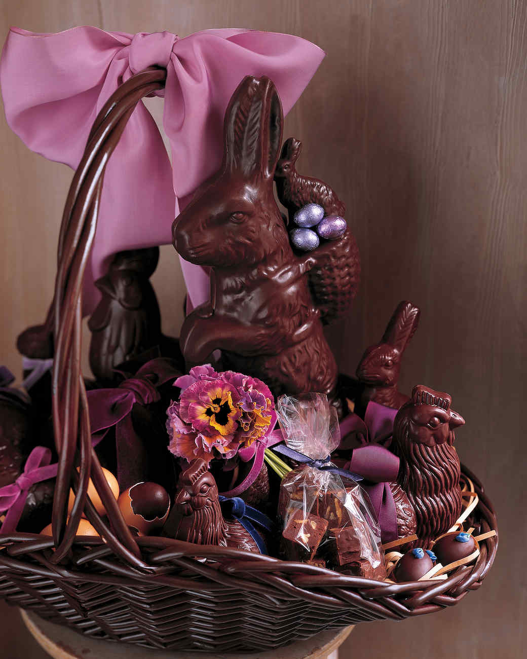 Chocolate Bunnies and Pansies Basket