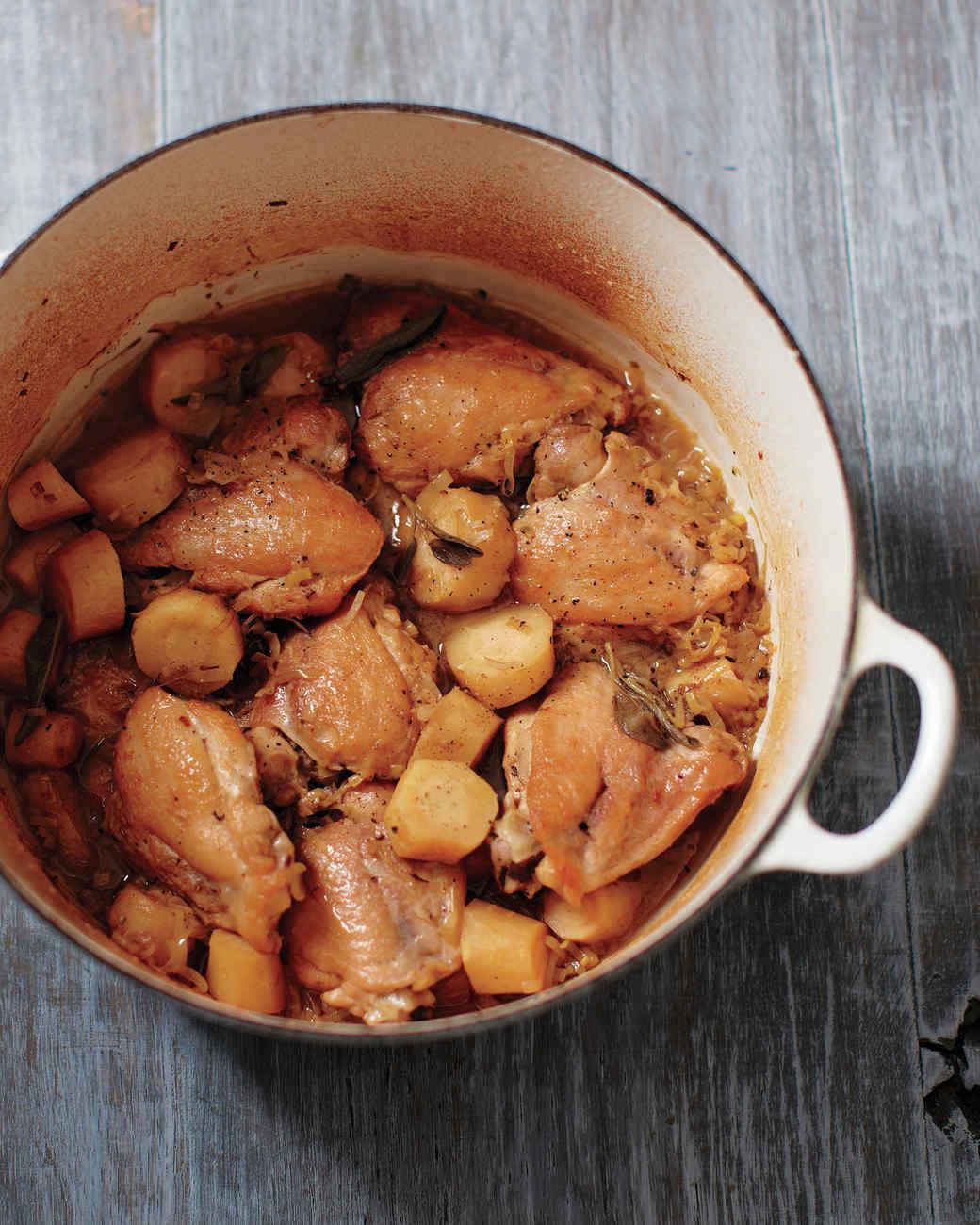 Braised Chicken and Parsnips
