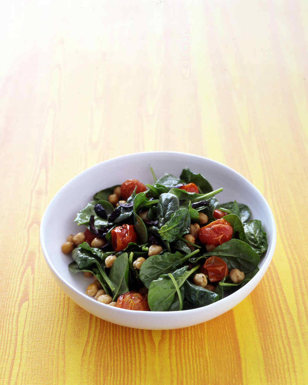 Wilted Spinach Salad with Chickpeas