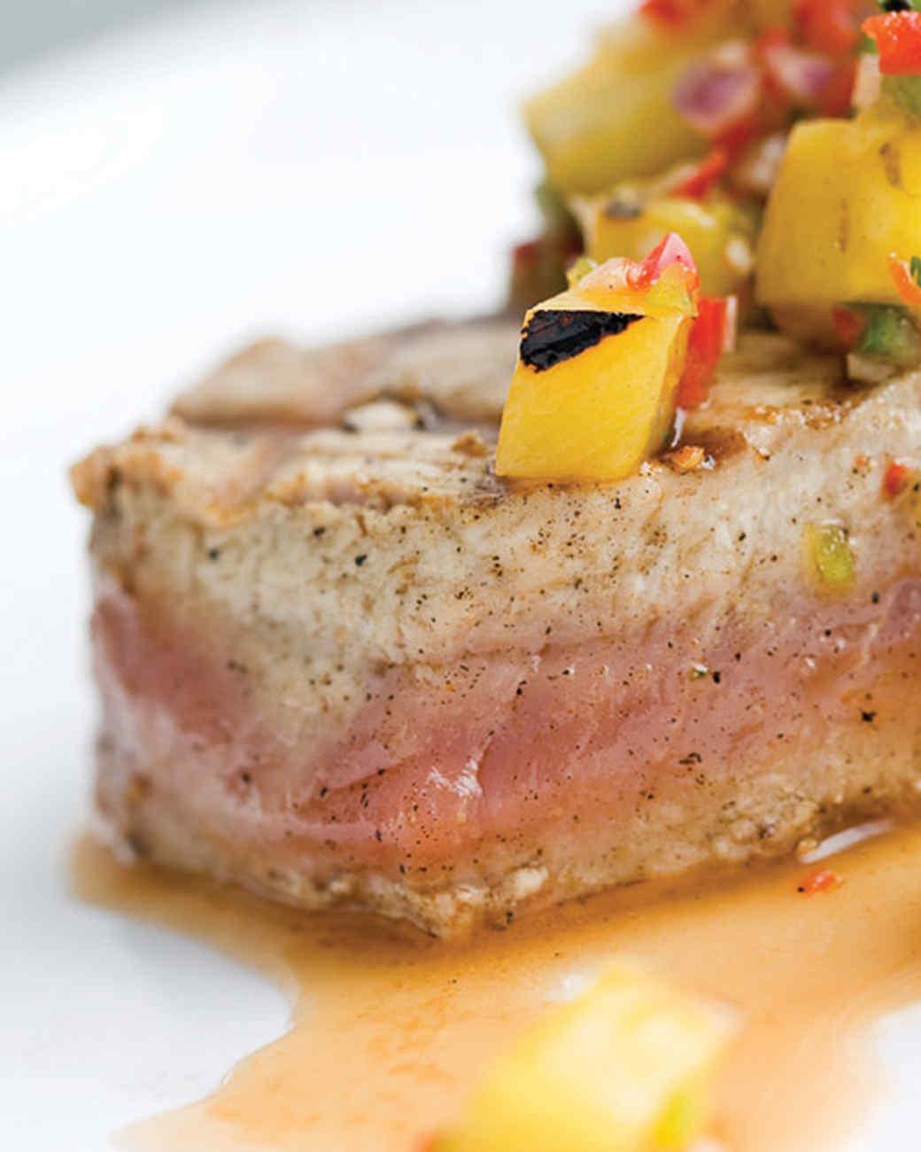 Yellowfin Tuna with Grilled Pineapple Salsa