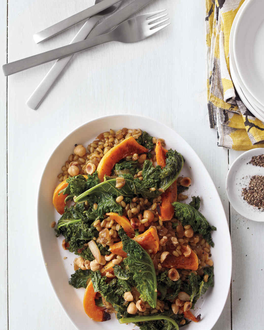 Freekeh with Roasted Butternut Squash, Seared Kale, and Caramelized Onion Jam
