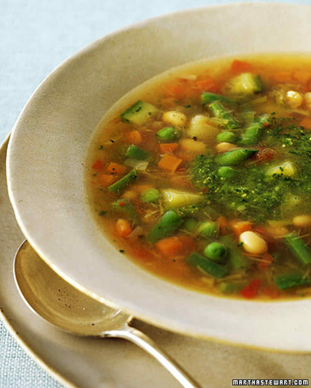 Spring Vegetable Soup With Pesto Recipe | Martha Stewart