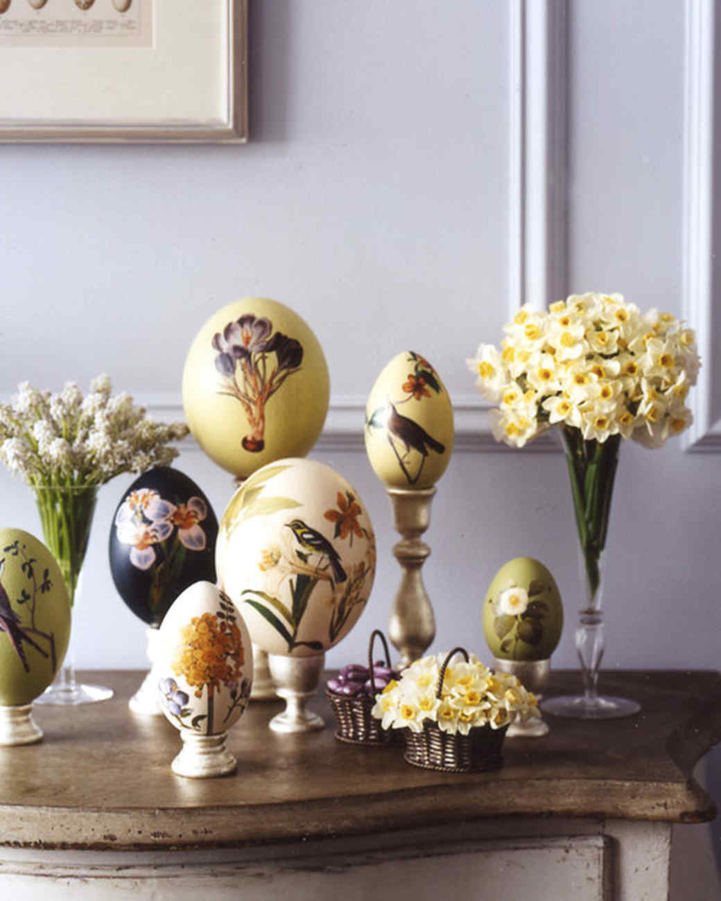 Oversize Botanical Decoupage Easter Eggs