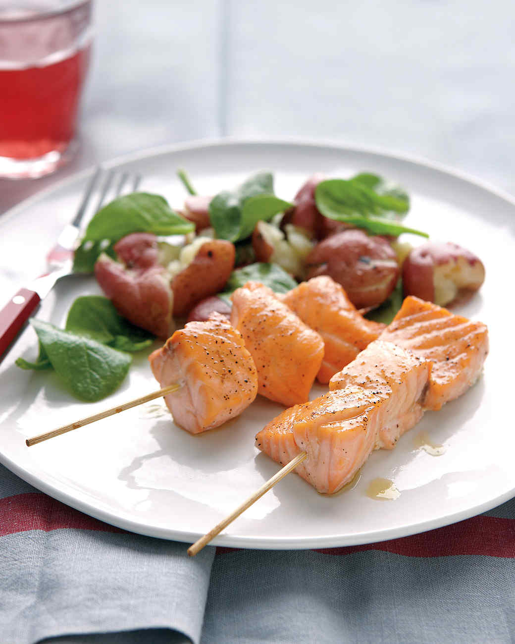Salmon Skewers with Smashed Potatoes