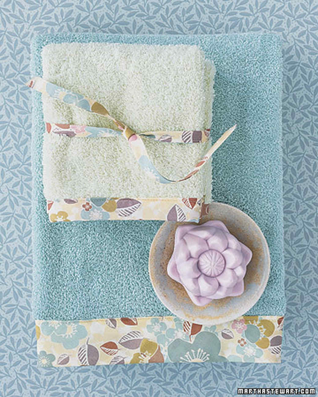Bath Towels with Patterned Trim