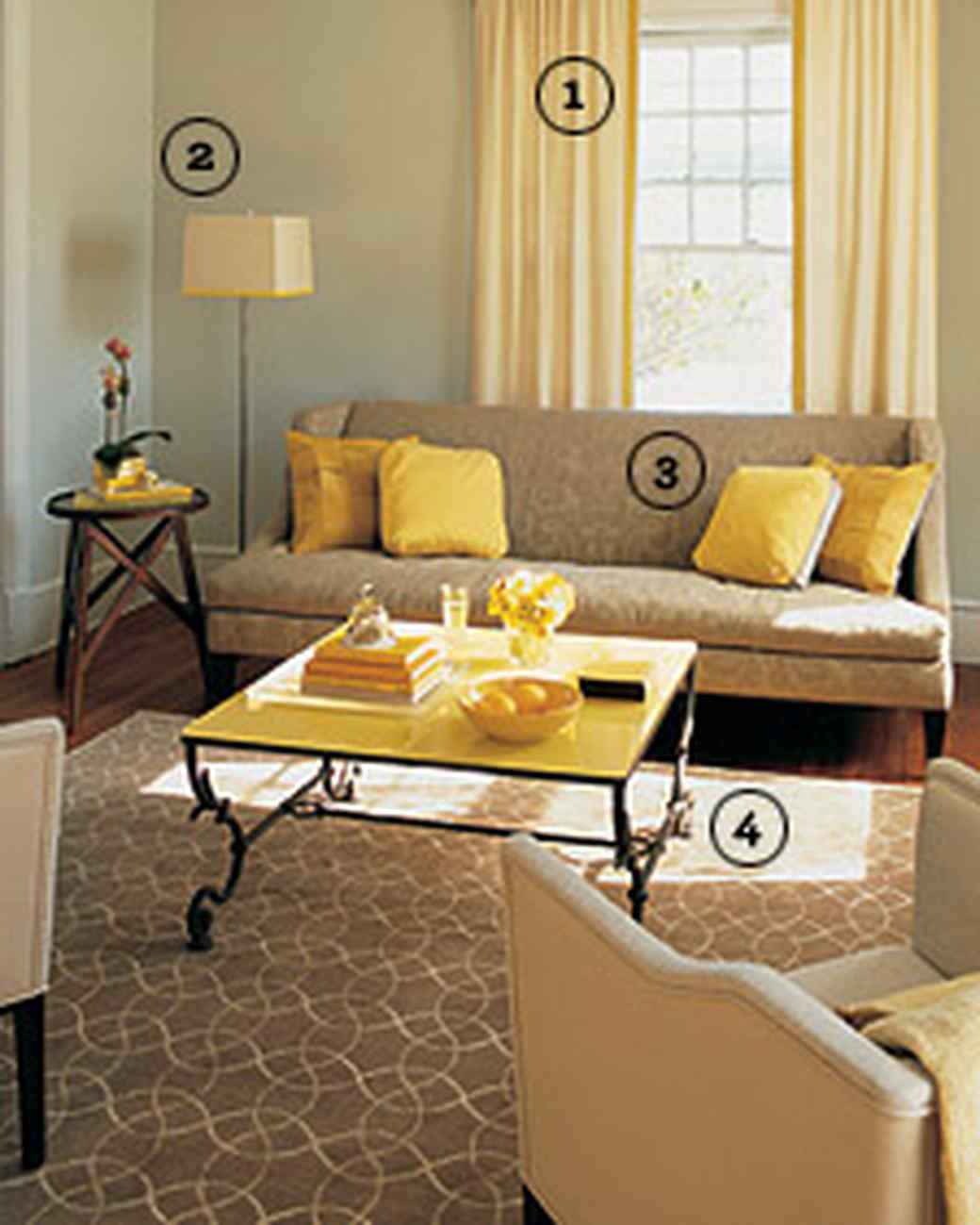 Grey Living Room With Bright Colors yellow rooms | martha stewart