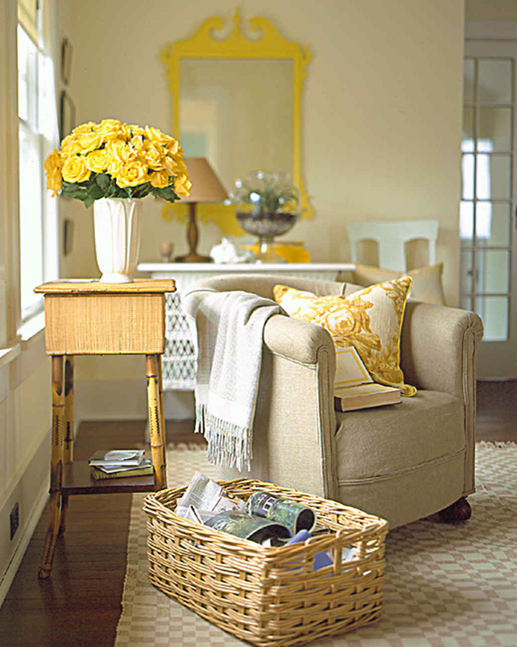 Decorating with yellow and orange martha stewart for Yellow brown living room ideas