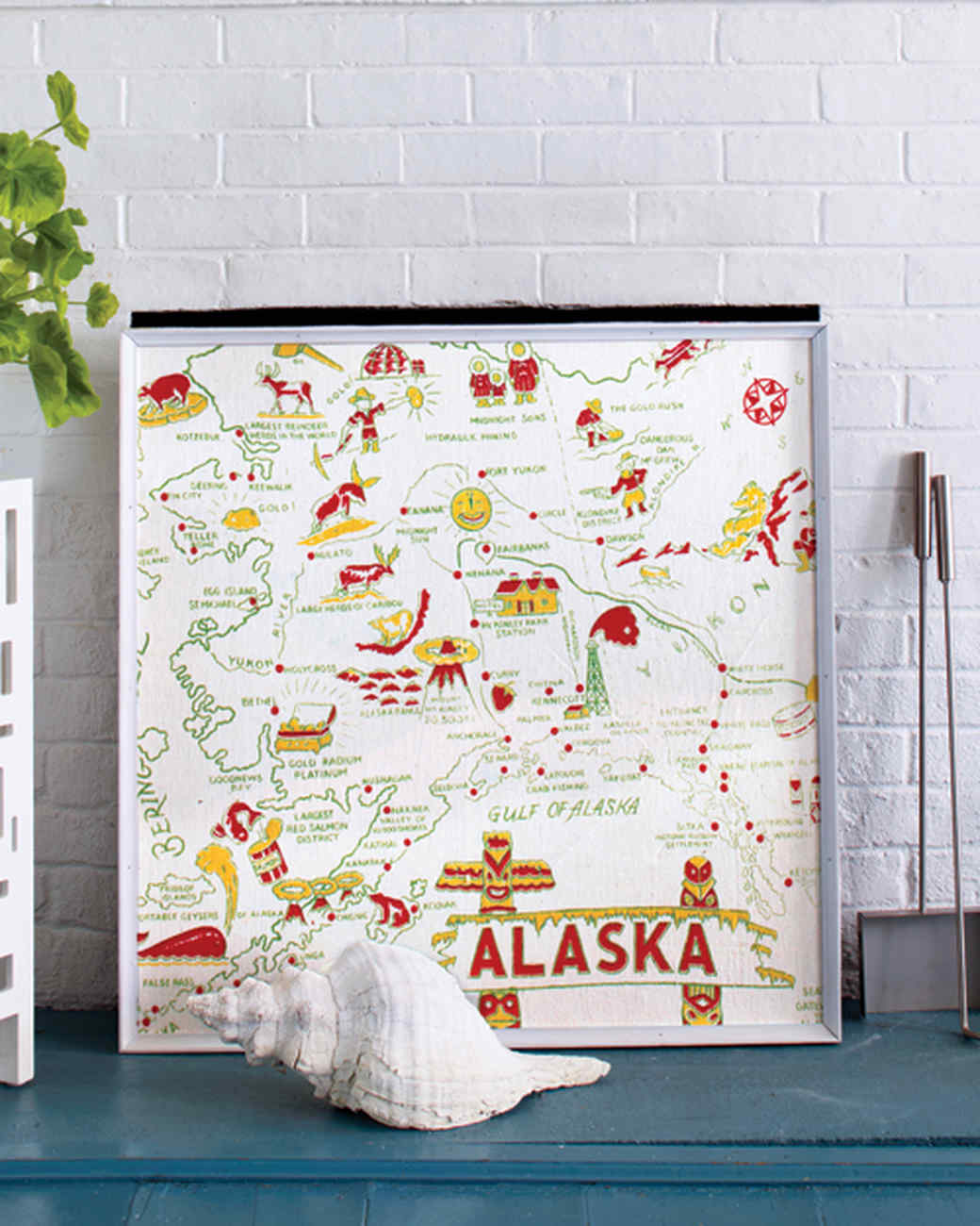 Map Textile Fireplace Screen
