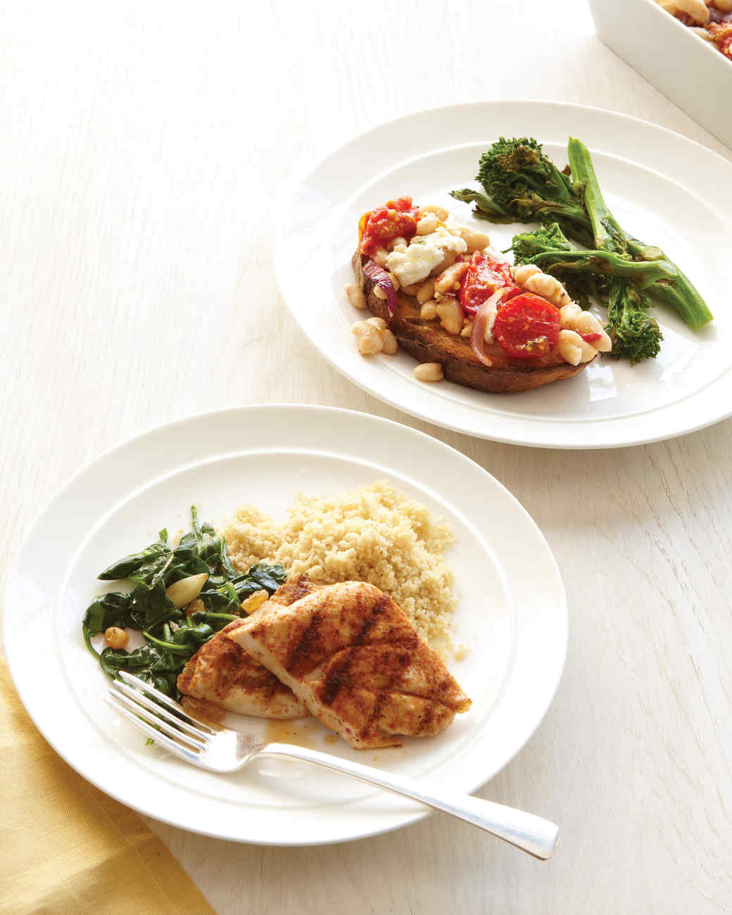 Grilled Chicken with Spinach and Whole-Wheat Couscous