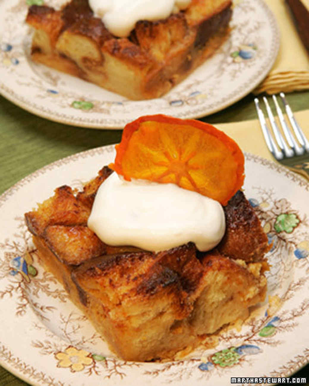 Persimmon White Chocolate Bread Pudding
