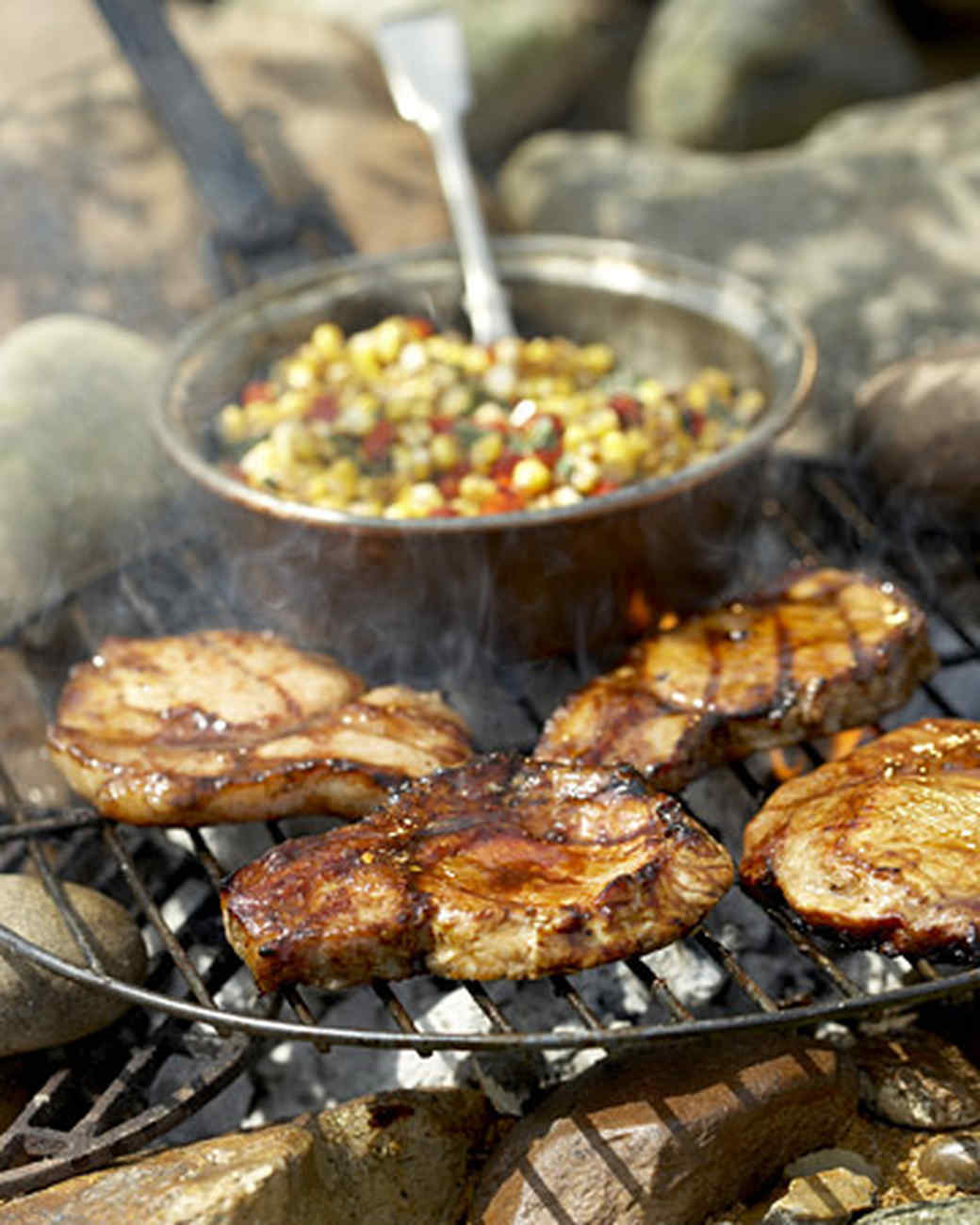 Molasses- and Chile-Glazed Pork Medallions with Smoky Corn-Red Pepper Relish